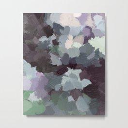 Dark Green Lilac Purple Gray Black Abstract Wall Art, Painting Art, Modern Wall Art Metal Print