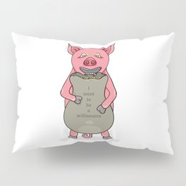 pig and bag with gold coins Pillow Sham