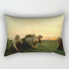 Jules Breton - The Weeders Rectangular Pillow