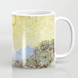 1889-Vincent van Gogh-Olive Trees with yellow sky and sun-73,66x92,71 Coffee Mug