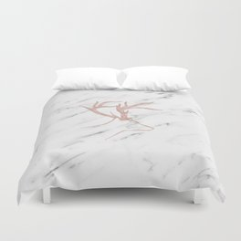Rose gold deer - soft white marble Duvet Cover