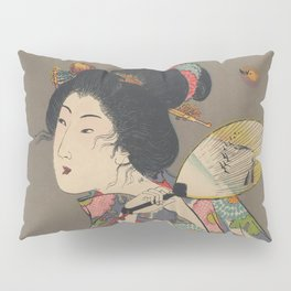 Japanese Art Print - Woman and Fireflies Pillow Sham