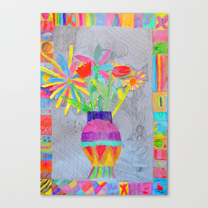 flower vase kids painting 3d collage canvas print by azima