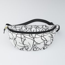 Japanese Awa Dancers  Abstract Monochromatic Fanny Pack