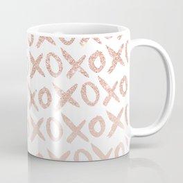 Elegant faux rose gold blush pink love xoxo typography pattern Coffee Mug