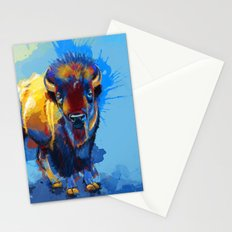 On the Plains - Bison painting Stationery Cards