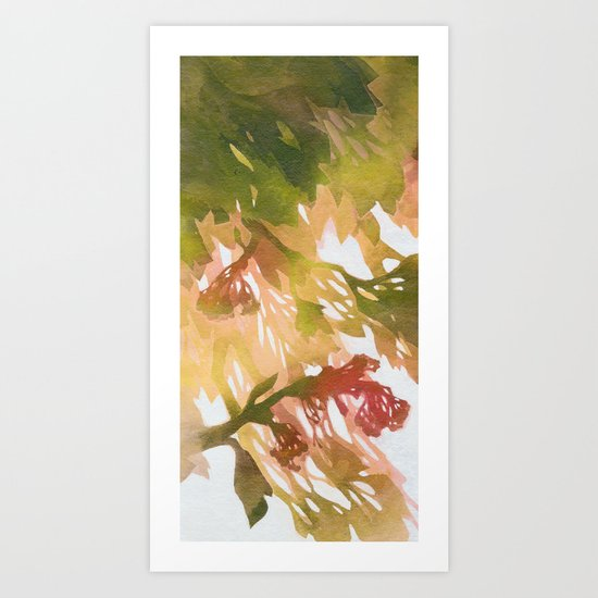 Morning Blossoms 2 - Olive Variation Art Print