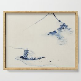 A Person in a Small Boat on a River with Mount Fuji in the Background by Hokusai Serving Tray