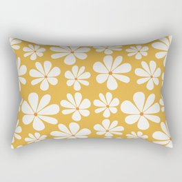 Floral Daisy Pattern - Golden Yellow Rectangular Pillow