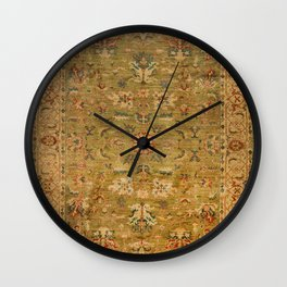 Persian 19th Century Authentic Colorful Muted Green Yellow Blue Vintage Patterns Wall Clock