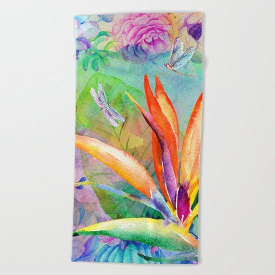 Bird of paradise i Beach Towel