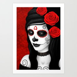 Day of the Dead Sugar Skull Girl with Red Roses Art Print