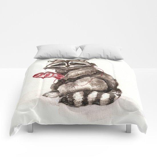 Pensive Raccoon in Red Mittens. Winter Season. Comforters