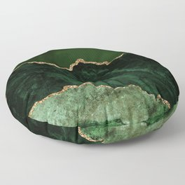 Beautiful Emerald And Gold Marble Design Floor Pillow