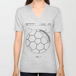 Soccer Patent - Football Art - Black And White Unisex V-Neck