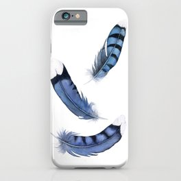 Falling Feather, Blue Jay Feather, Blue Feather watercolor painting by Suisai Genki iPhone Case