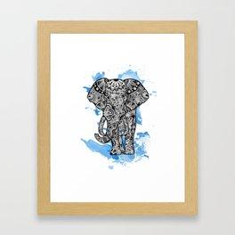Tribal Elephant- Blue Framed Art Print