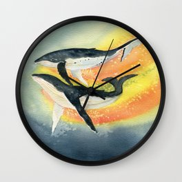 Whale Watercolor Wall Clock