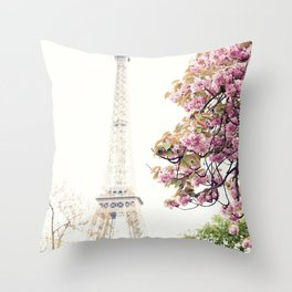Cherry blossoms in Paris, Eiffel Towerr Throw Pillow