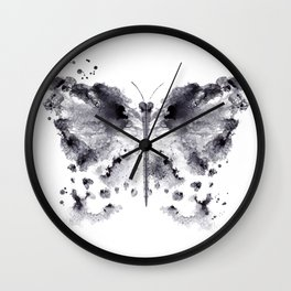 Monotype butterfly black Wall Clock