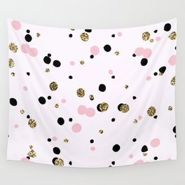 Pink Black Gold Party Dots Wall Tapestry
