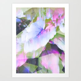 Lush Foliage Glitch - Green and Pink Art Print