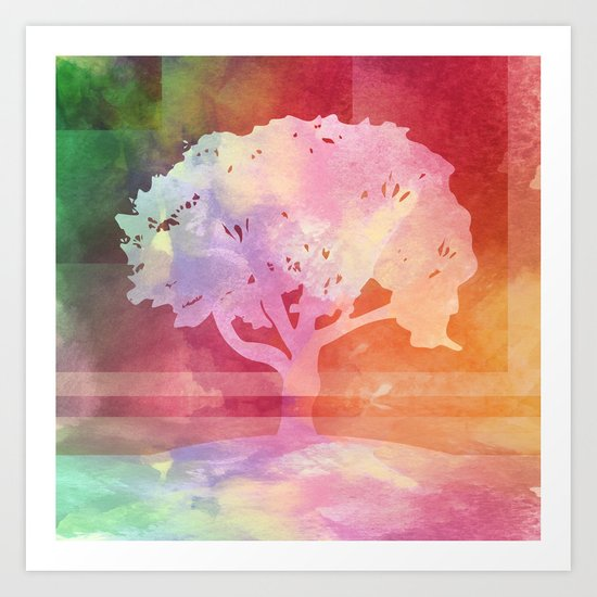 Color Tree white Art Print