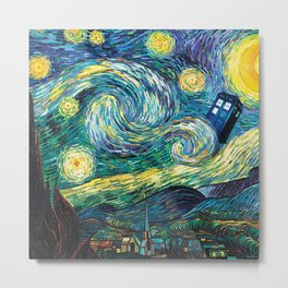 Tardis Art Starry Painting Night Metal Print