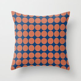 Orange Dots on Navy Throw Pillow