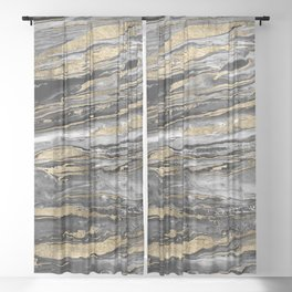 Stylish gold abstract marbleized paint Sheer Curtain
