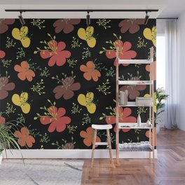 flor fondo negro1 Wall Mural