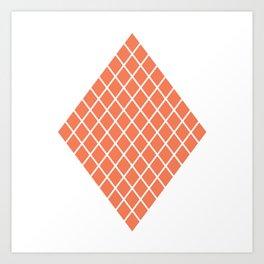 Geometric shape t-shirts & prints: Coral Diamond Rhombus (Rhom x Rhom) Multiple colours available... Art Print