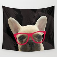 frenchie Wall Tapestries featuring Smart Frenchie by Moni & Dog