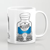 the legend of zelda Mugs featuring Zelda legend - Blue potion  by Art & Be