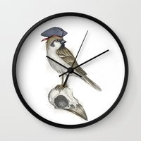 jack sparrow Wall Clocks featuring Real Jack Sparrow by Plonker