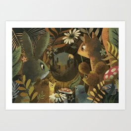 The Look Out Log Art Print