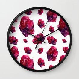 Ruby Birthstone Watercolor Illustration Wall Clock