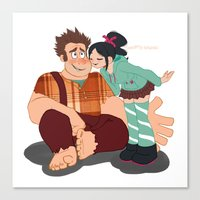 wreck it ralph Canvas Prints featuring Ralph & Vanellope by Violet's Corner