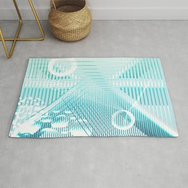 Galaxy Space Geometric blue abstract Rug