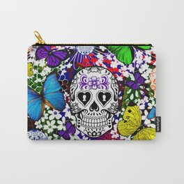 Day Of The Dead , Butterflies and Sugar  Skulls Carry-All Pouch