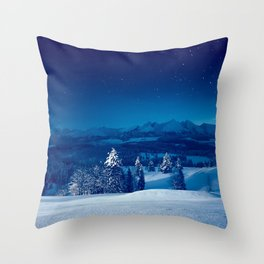 Snowy silent christmas night Throw Pillow