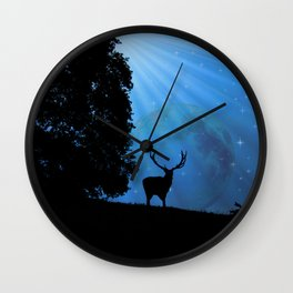 Moon & Deer - JUSTART © Wall Clock
