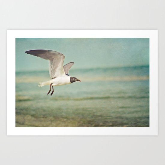 """The Seagull see farthest who flies highest."" --Proverbs quote Art Print"