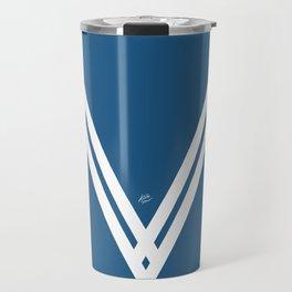 Blue V 3 #blue #white #design #abstract #artdeco #minimal #kirovair #buyart #decor #home Travel Mug