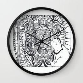 Polar Bear Mandala by Lady Lorelie Wall Clock
