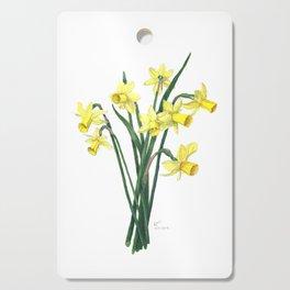 Little Daffodils Botanical Illustration Cutting Board