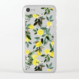 Summer Lemon Floral Clear iPhone Case