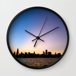 Chicago Skyline Silhouette Wall Clock