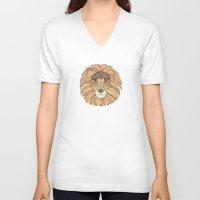 leo V-neck T-shirts featuring Leo by Vibeke Koehler