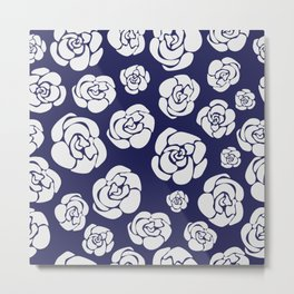 White roses on blue Metal Print